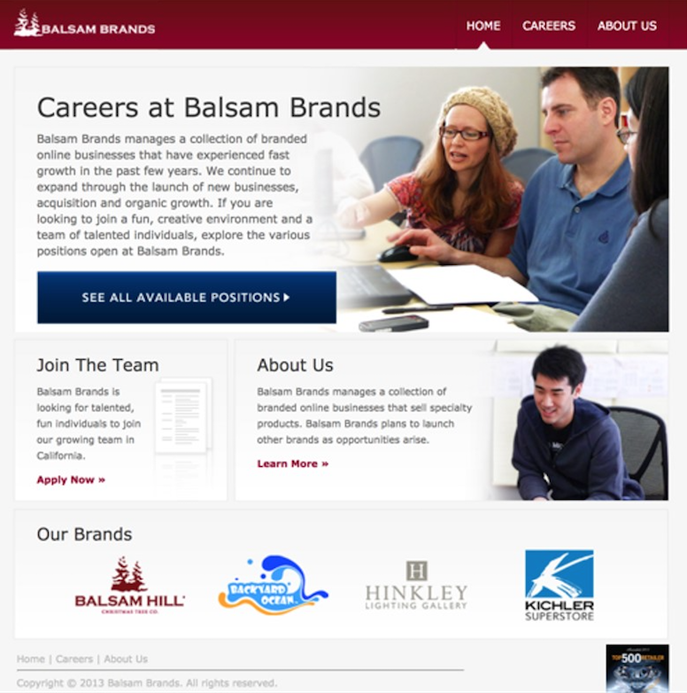Balsam Brands website in 2013